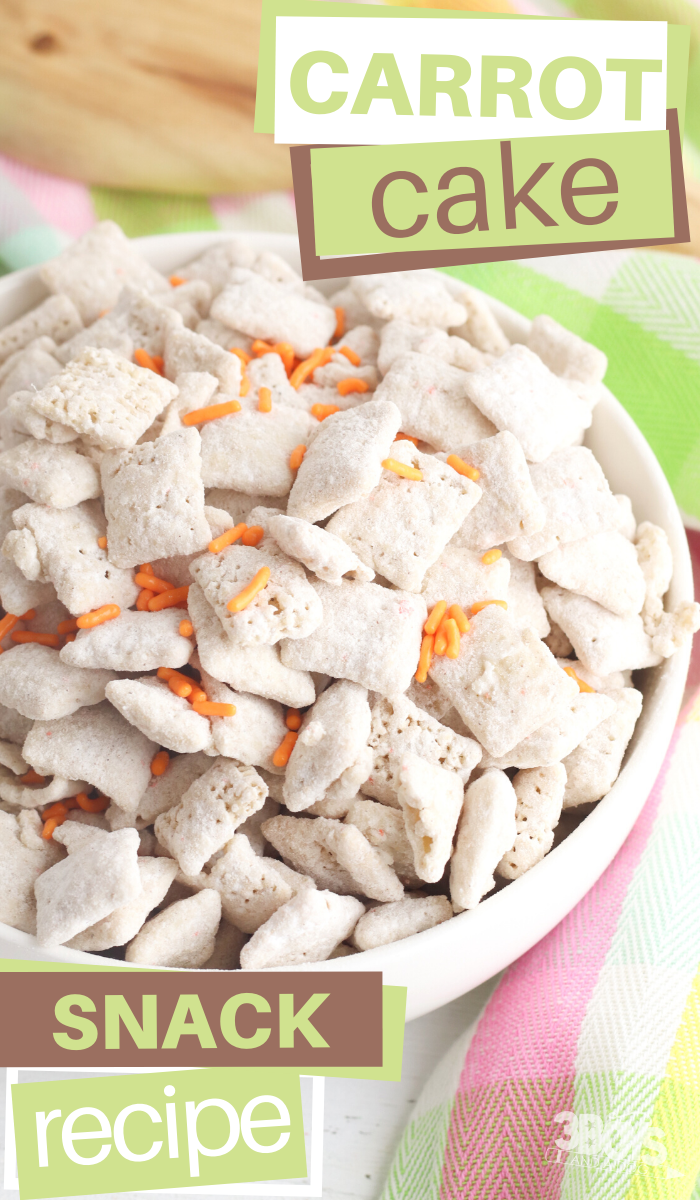 carrot cake puppy chow snack or dessert recipe