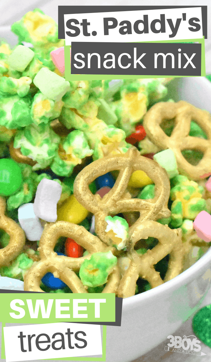 popcorn and pretzel candy coated snack mix for saint patrick