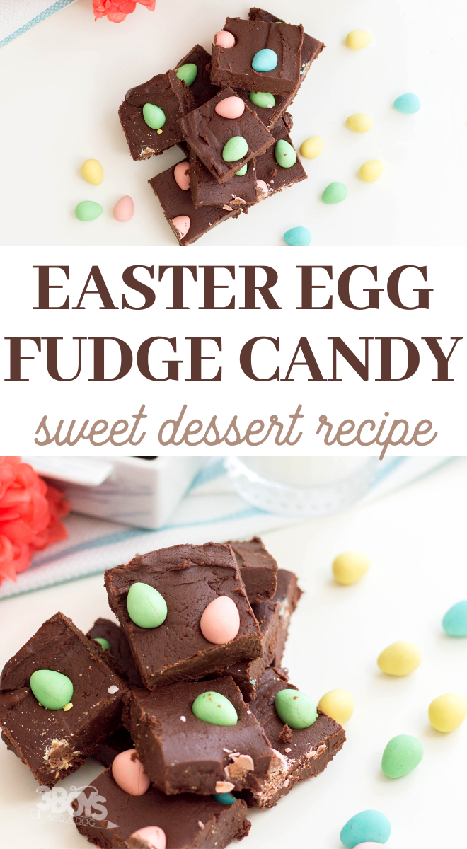 creamy fudge topped with crunchy candy easter eggs