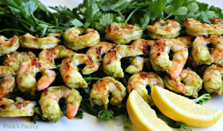 Grilled Lemon Herb Shrimp Skewers with Herby Dip