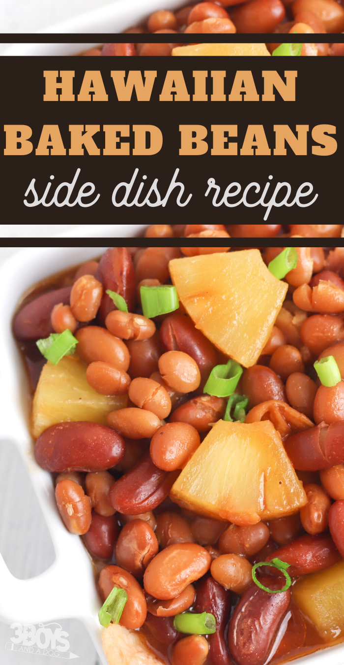 pineapple baked beans and bacon make the perfect side dish for your next luau