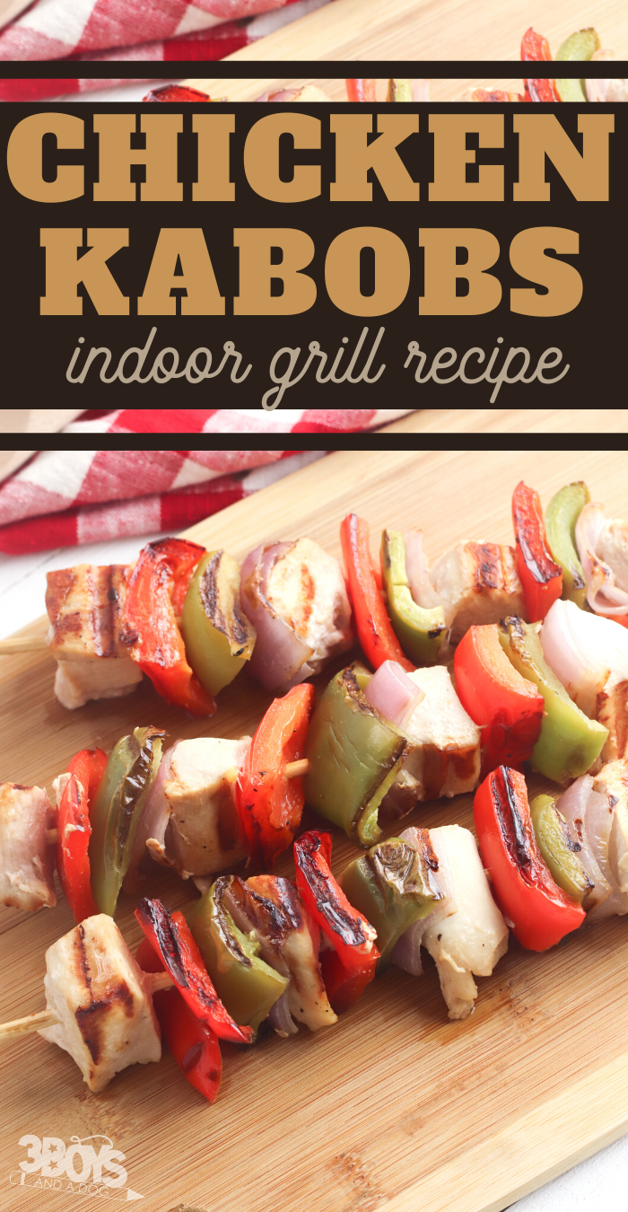 chicken kebabs on a george foreman indoor grill