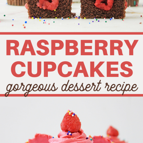 easy raspberry cupcake dessert of chocolate cake and fresh raspberries