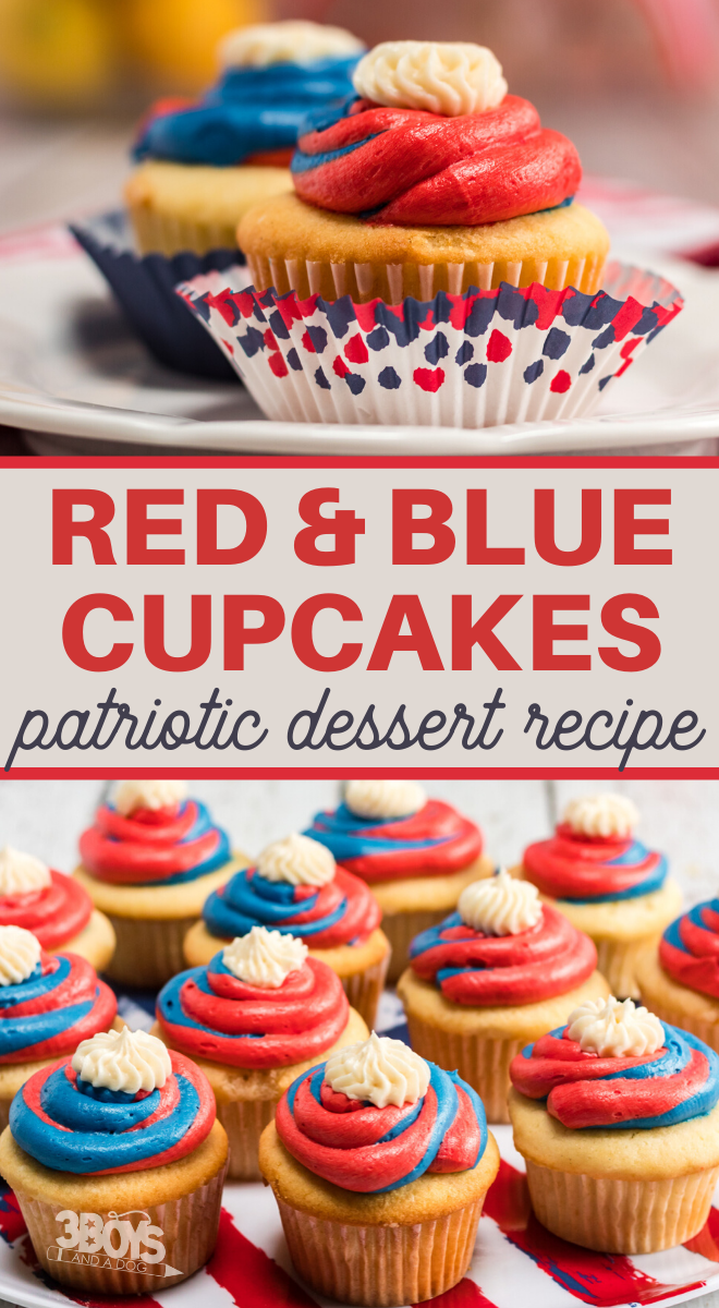 swirled red and blue frostings make a perfect patriotic cupcake recipe