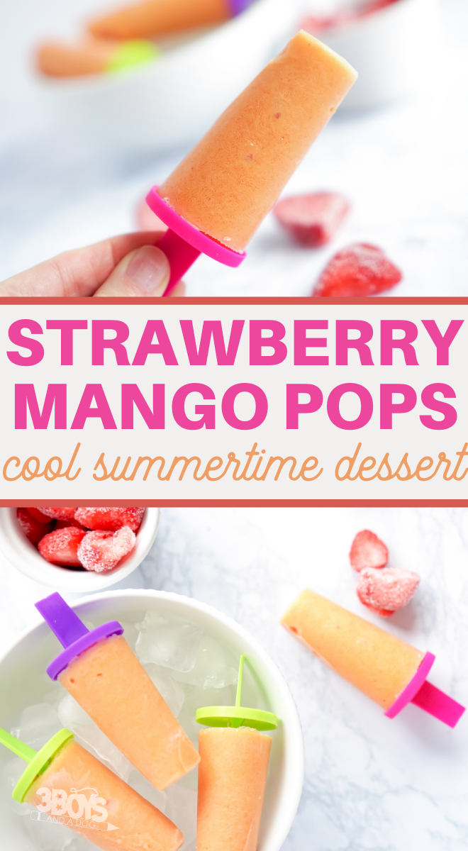 pureed strawberries and sweet mango make a perfect pairing in these fresh fruit pops