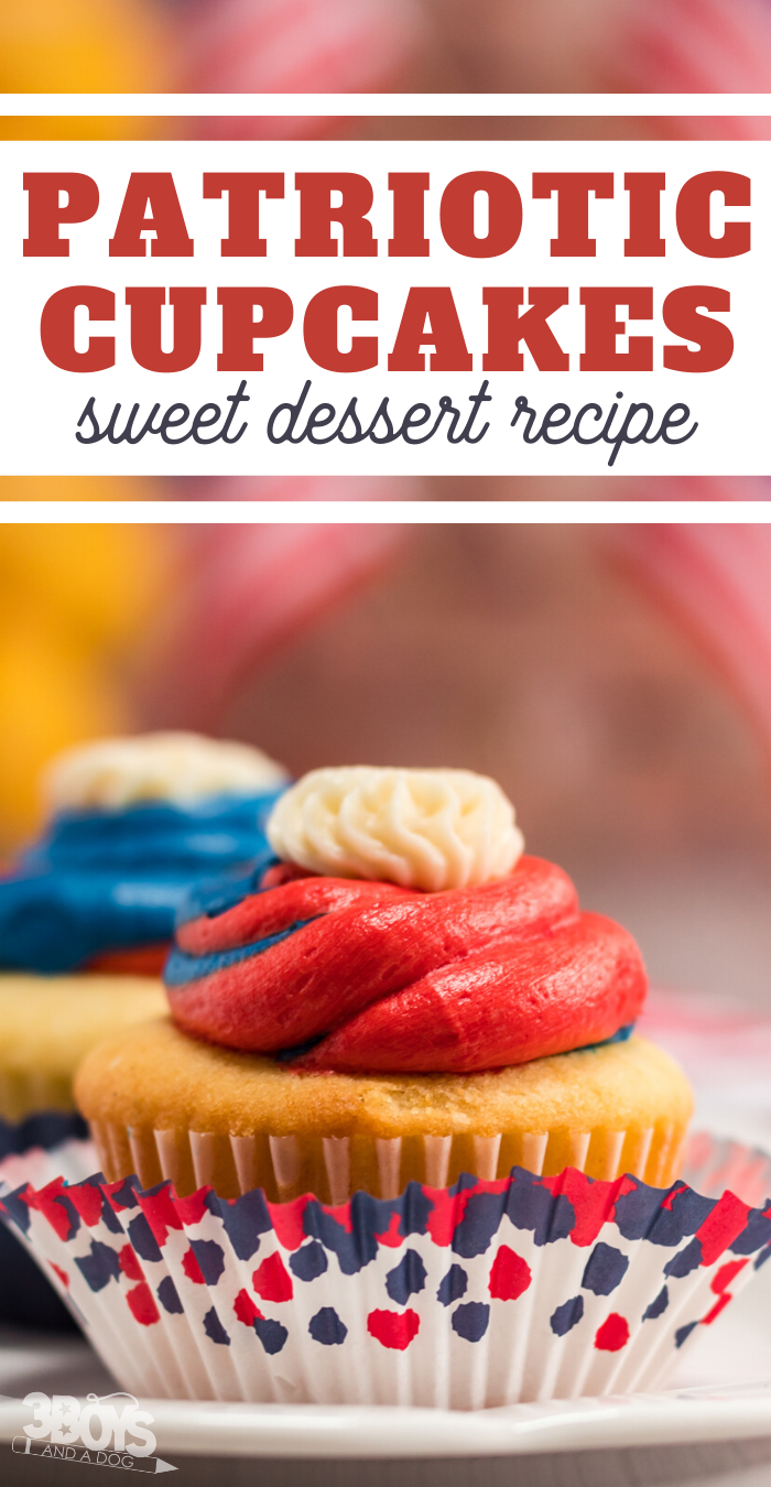 sweet cupcake dessert recipe with red and blue icing