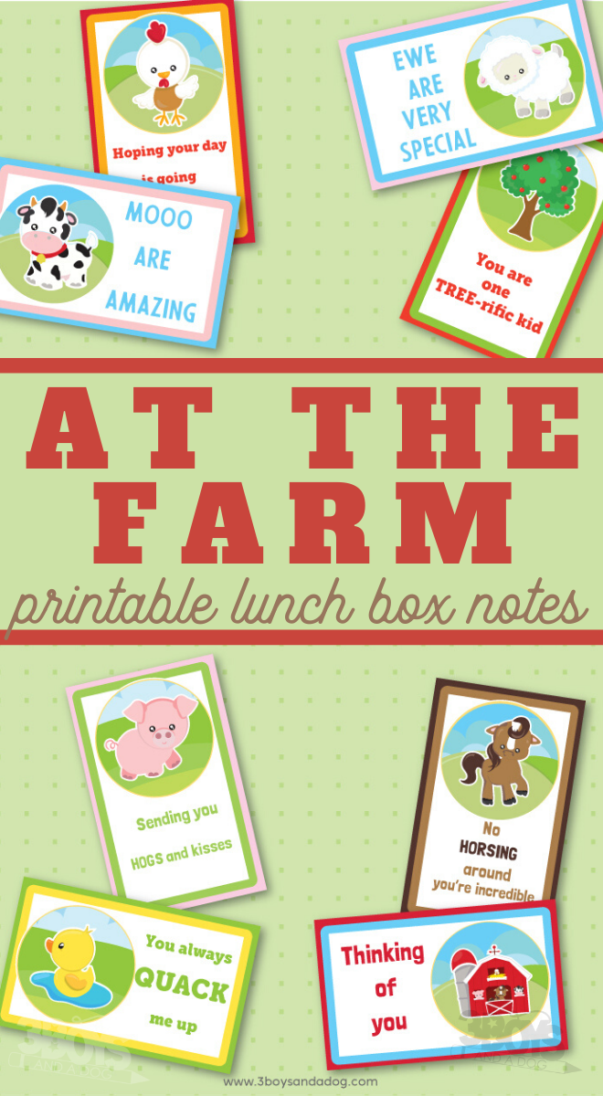 at the farm lunchbox notes to print out