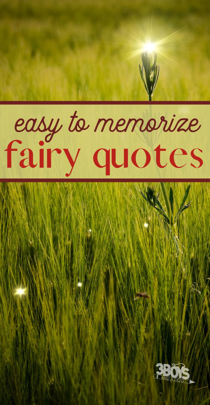 easy to memorize fairy quotes
