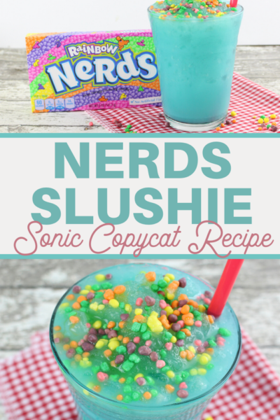 blue raspberry and crushed ice topped with rainbow nerds