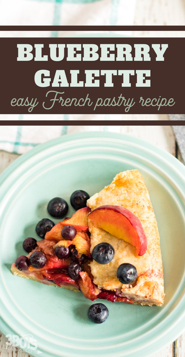 sweet galette with peaches and blueberries