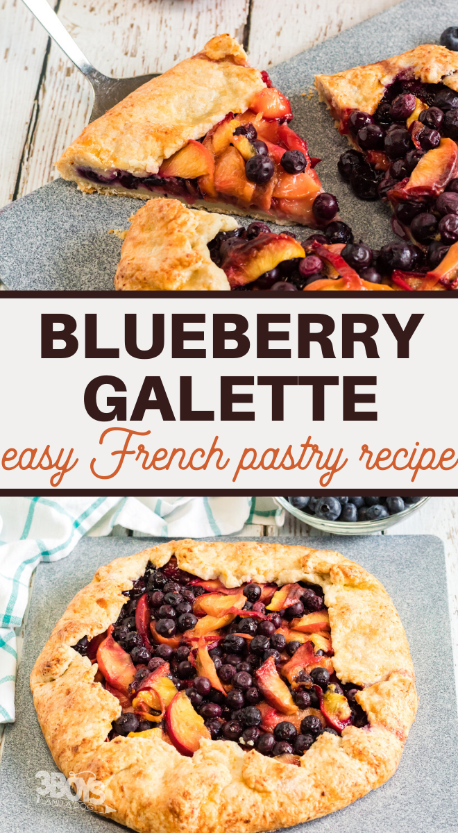 plump blueberries pair fabulously with sweet peaches in this crispy galette that is perfect for a brunch or dessert