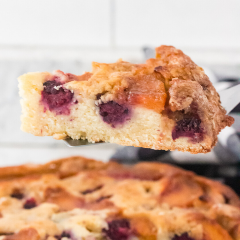 tart blackberries pair fabulously with sweet peaches in this cake that is perfect for a brunch or dessert