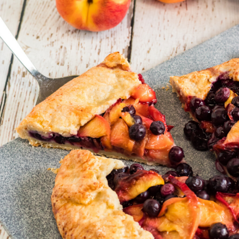 fresh peaches and blueberries combine to make this delicious french pastry recipe