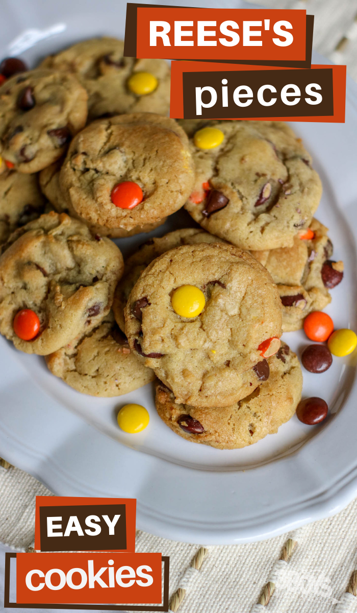 the reeses pieces colors are perfect for fall in these yummy cookies