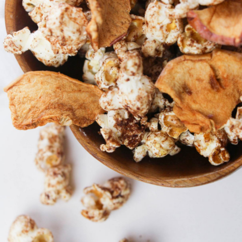 delicious snack of apple and popcorn in an easy to grab snack recipe