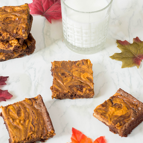 delicious dessert of pumpkin and chocolate in an easy to grab brownie recipe