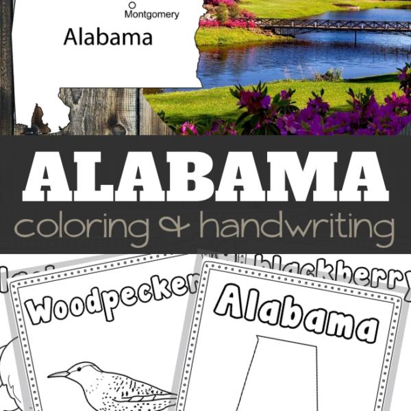 Alabama Coloring and Handwriting Sheets