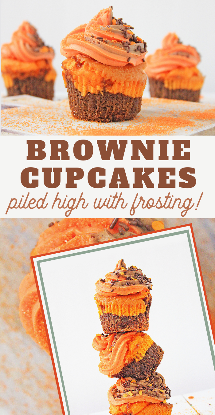 brownie layer orange cupcakes