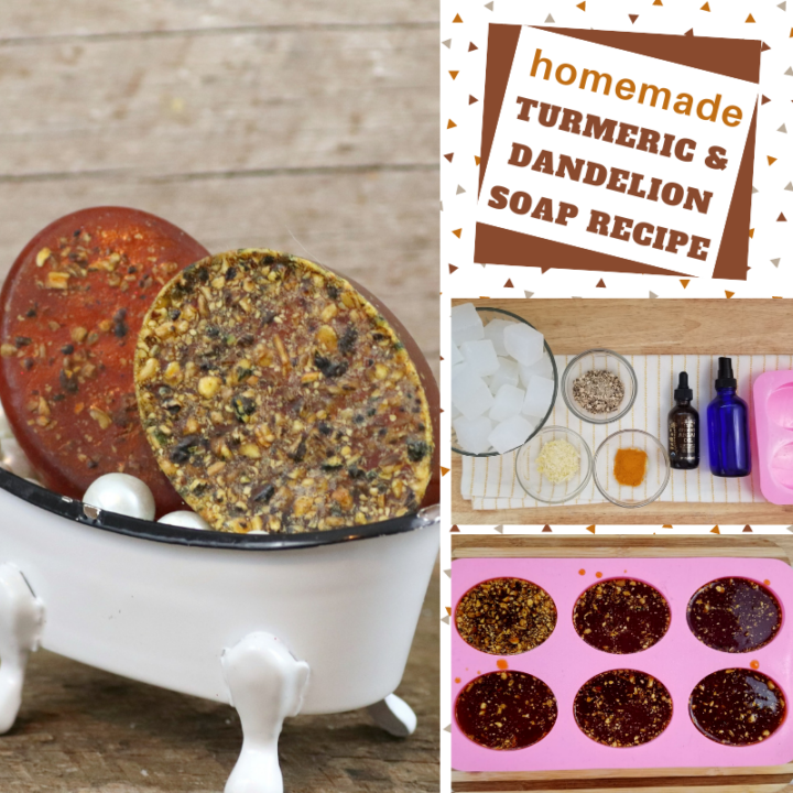 make your own soap recipe with turmeric and dandelion