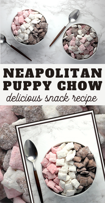 neapolitan muddy buddies snack mix recipe