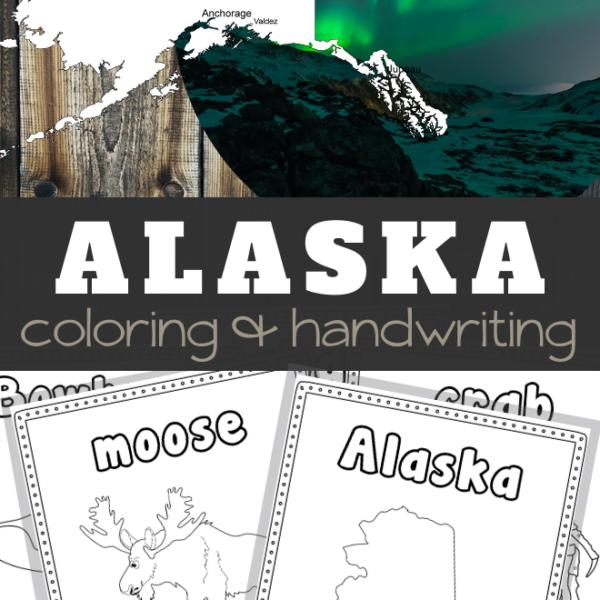 Alaska Coloring and Handwriting Sheets