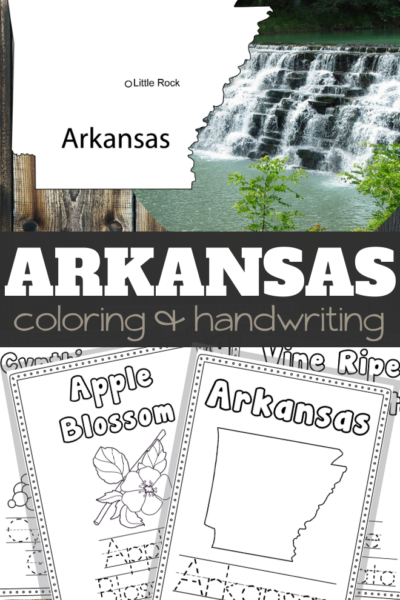 Arkansas Coloring and Handwriting Sheets