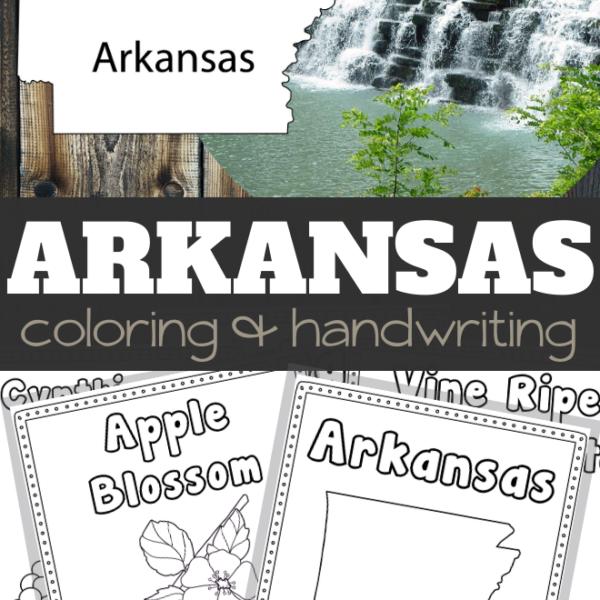 Arkansas Coloring and Handwriting Sheets