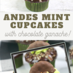 easy mint chocolate cupcakes with a grasshopper cookie on top