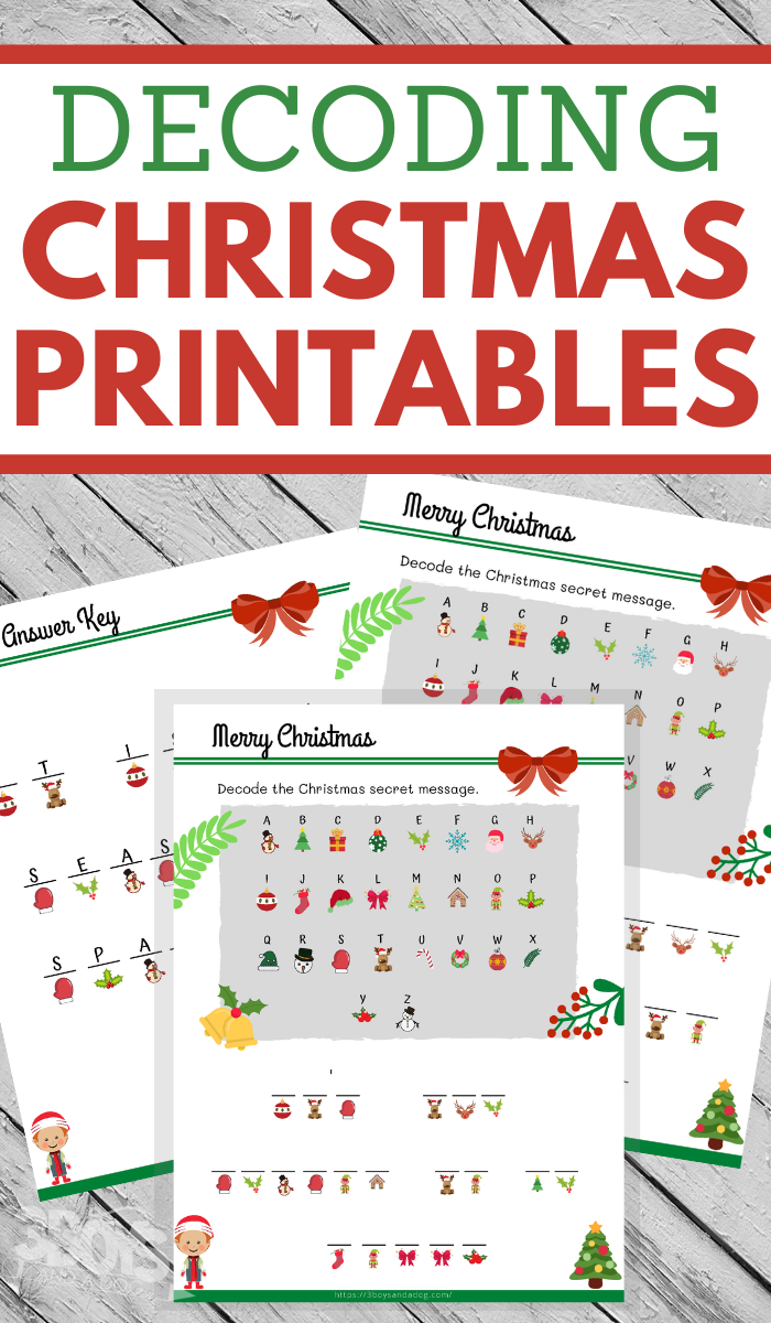 fun decoding worksheets in a christmas theme