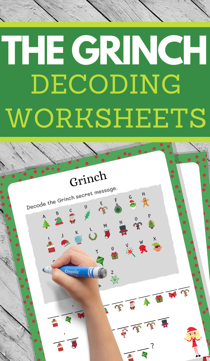 fun decoding worksheets in an adorable Grinch theme