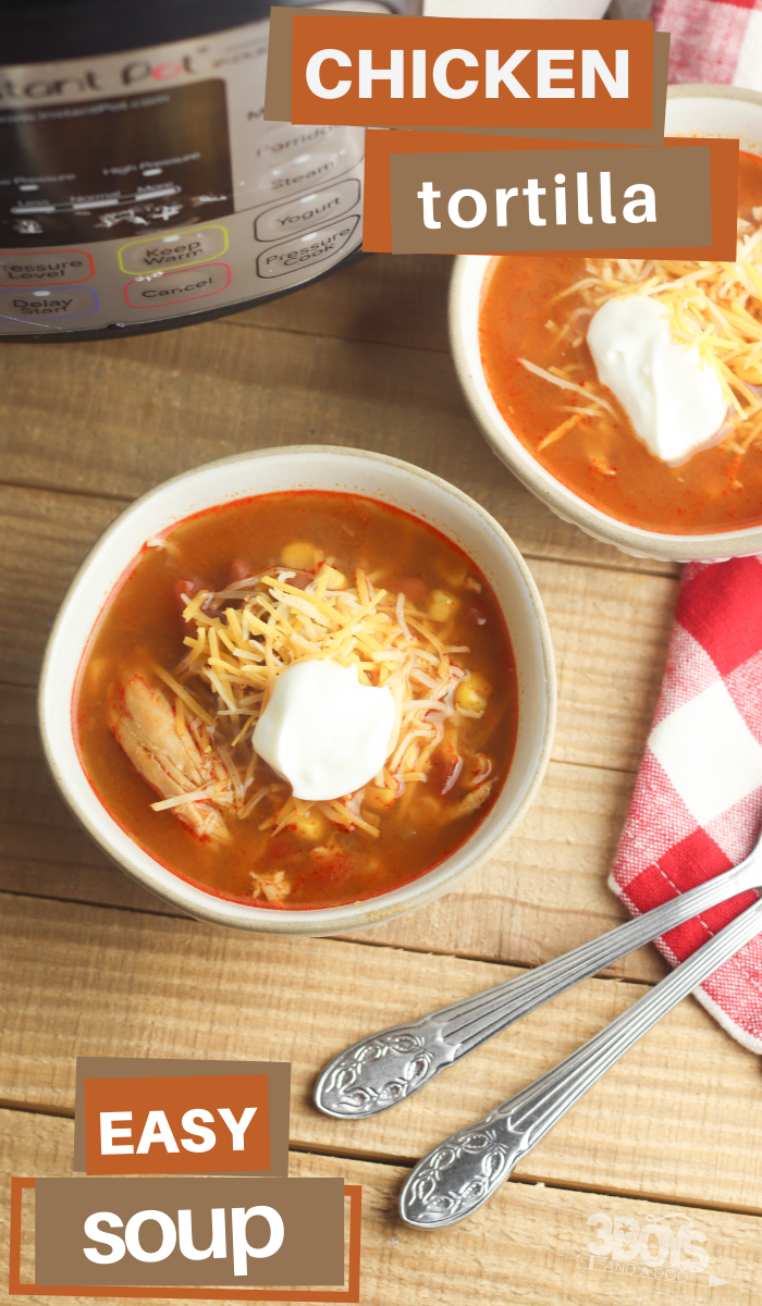 chicken tortilla southwestern soup in the instant pot