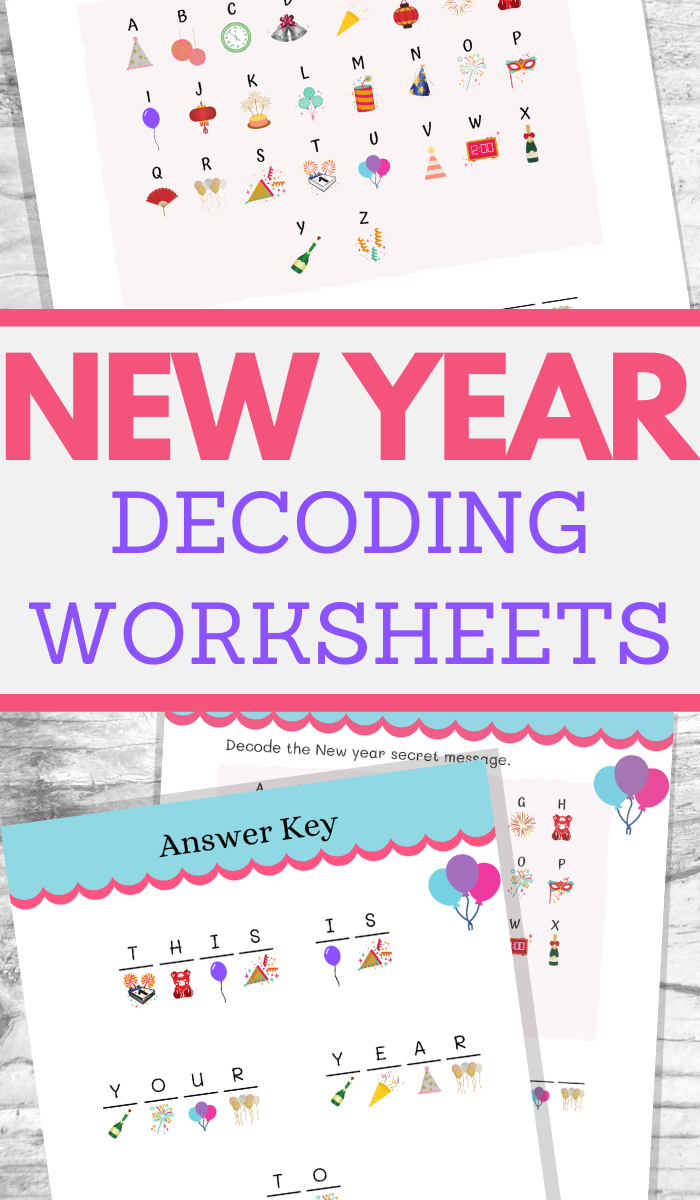 new years decoding activities worksheets