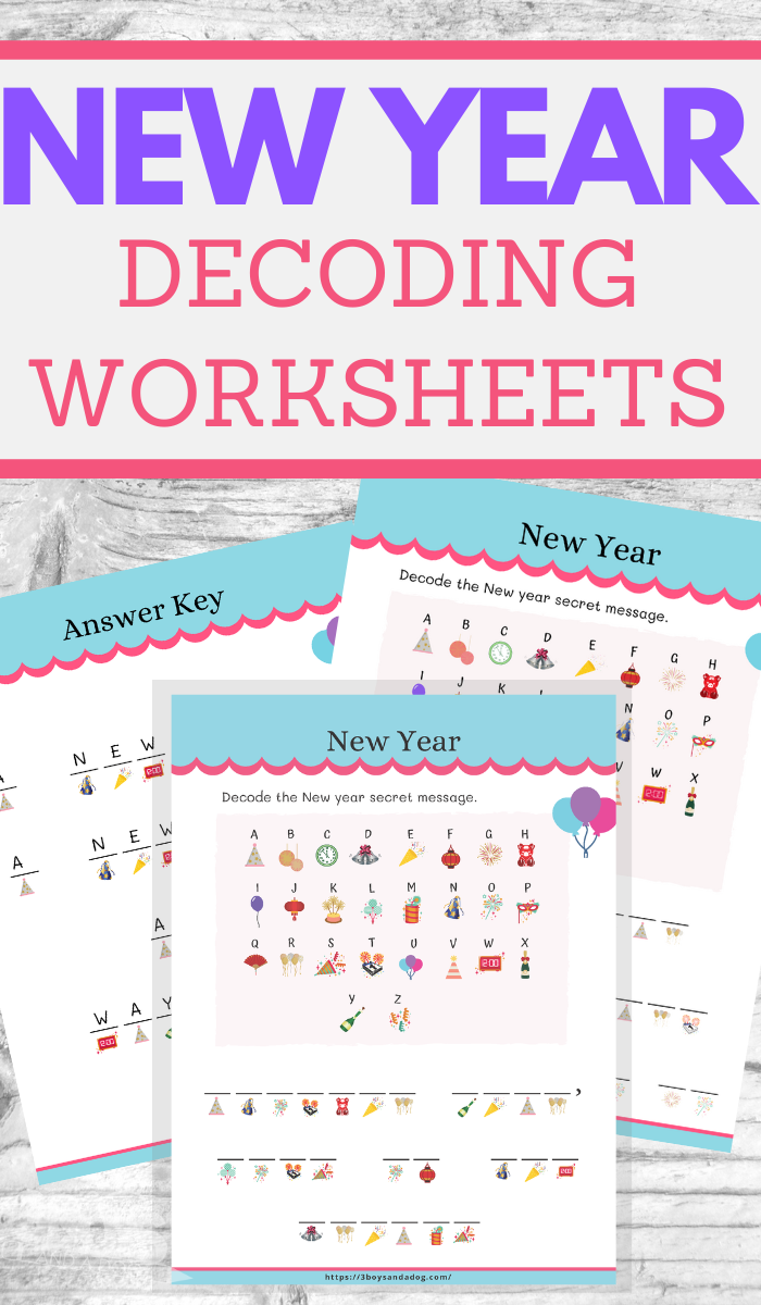 decoding worksheets for new years fun