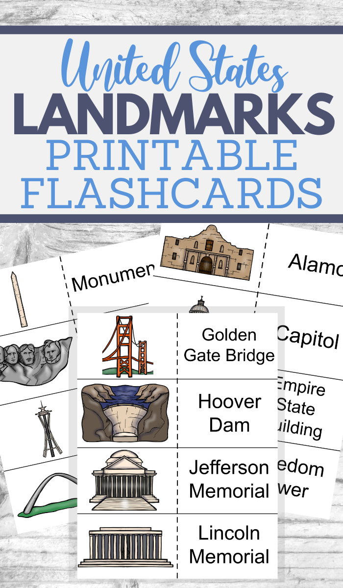 printable flashcards for landmarks learning fun