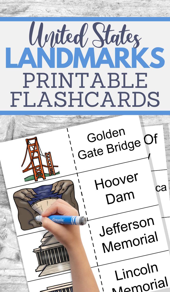 free printable usa landmarks flashcards
