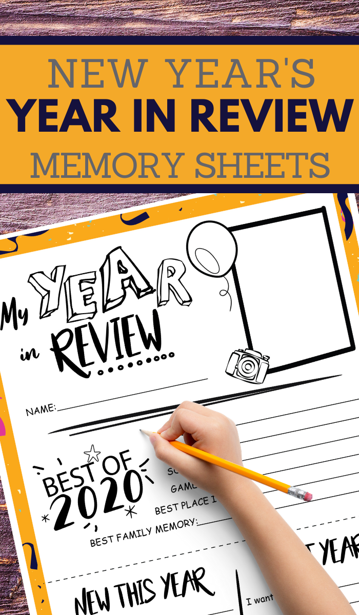 end of year review sheet for kids