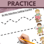 cutting exercises for preschoolers in a cute valentine theme