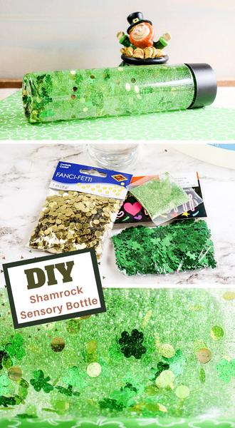 how to make your sensory bottle with shamrocks for Saint Patricks Day
