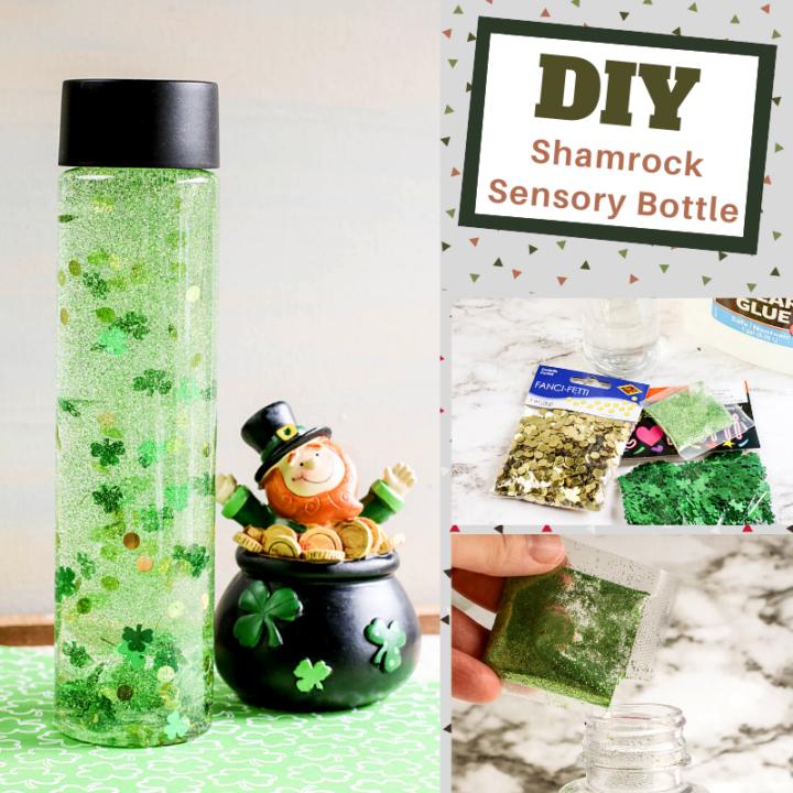 diy shamrocks and gold coins sensory bottle craft