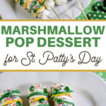 dipped green and gold marshmallow sticks