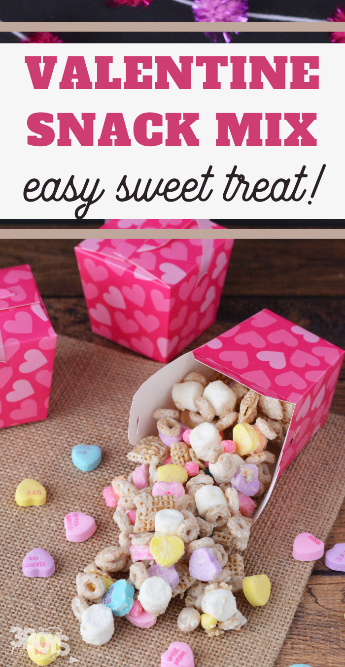 sweet and savory snack mix with fun conversation heart candies