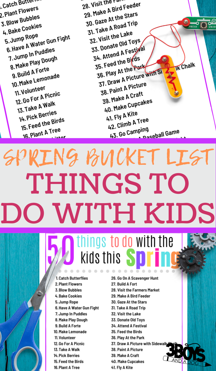 printable bucket list of things do with the kids this spring