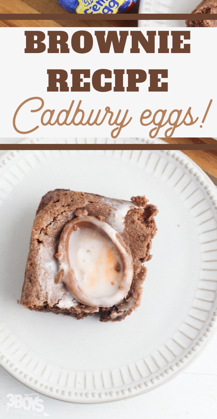 chocolate brownies with a Cadbury Egg surprise