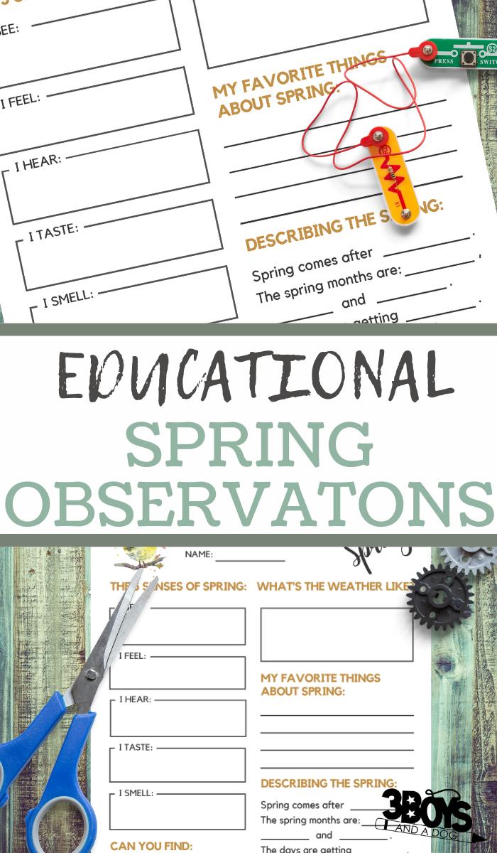 spring observations printable sheets