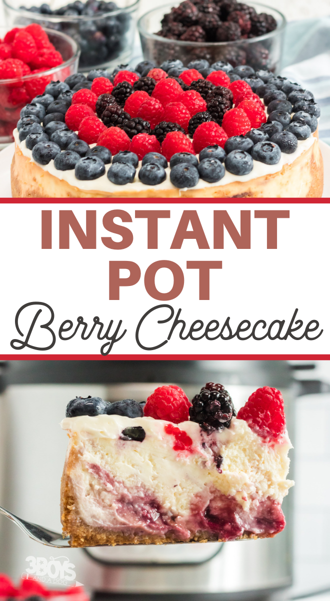 berry pie with cheesecake filling cooked to perfection in your instant pot