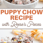 peanut butter candies and chocolate combine to make this delicious chex snack mix