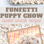 this snack recipe is made with funfetti sprinkles and chex cereal