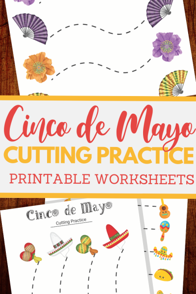 Mexico themed scissor skills sheets for fine motor practice