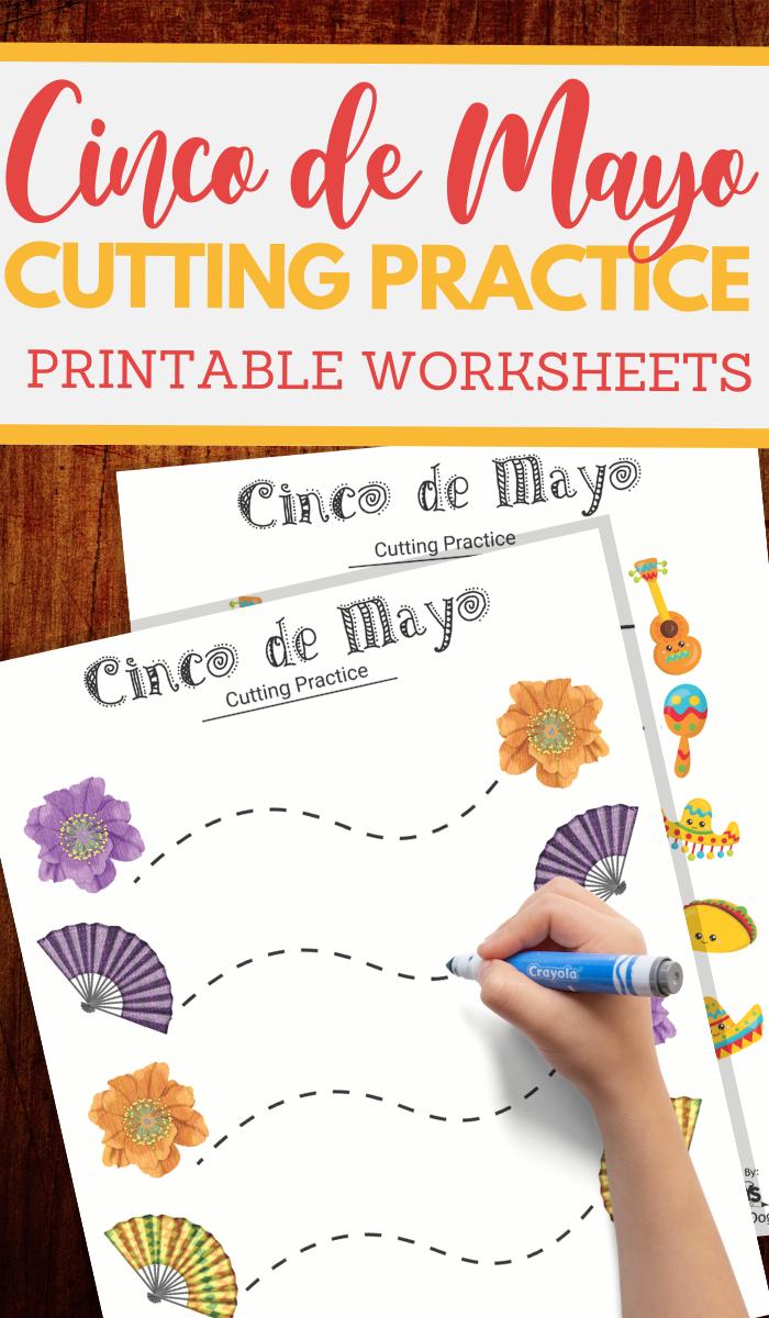Cinco de Mayo cutting practice worksheets for preschoolers