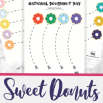 simple cutting worksheets for National Doughnut Day
